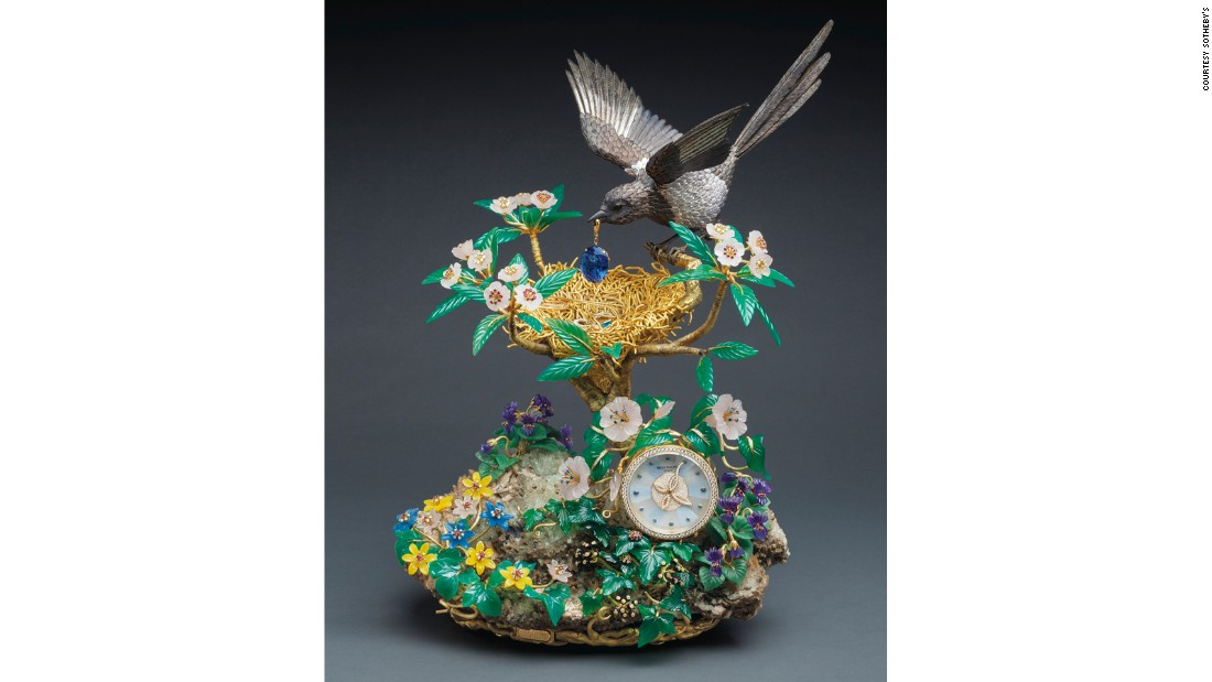 It's just not just Patek Philippe watches that do well at auction. This elaborate clock -- made from yellow gold, diamonds, rubies and sapphires, among other precious materials -- sold for $2.3 million at a 2013 Sotheby's auction in Hong Kong.