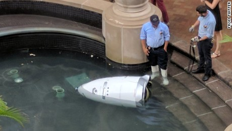 Steve, the beloved security robot, in his final, waterlogged moments.