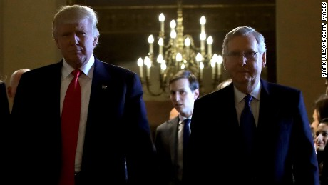 WASHINGTON, DC - NOVEMBER 10:  President-elect Donald Trump (L) walks from a meeting with Senate Majority Leader Mitch McConnell (R) at the U.S. Capitol November 10, 2016 in Washington, DC. Earlier in the day president-elect Trump met with U.S. President Barack Obama at the White House.  (Photo by Mark Wilson/Getty Images)