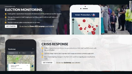Ushahidi provides a range of mapping services including tracking natural disasters.