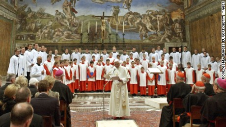 VATICAN CITY- OCTOBER 22:  Pope Benedict XVI attends a concert by the Regensburger Domspatzen boys choir at the Sistine Chapel, on October 22 , 2005 in Vatican City. The choir performed a piece of music written by the Pope's brother Monsignor Georg Ratzinger.  (Photo by L' Osservatore Romano-Vatican Pool/Getty Images)
