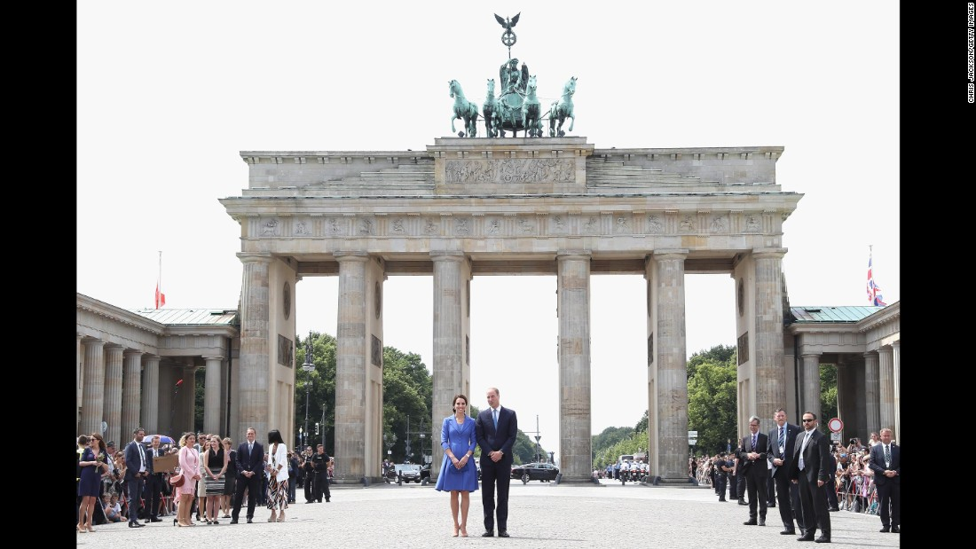William and Kate visit the Brandenburg Gate on July 19, in Berlin.