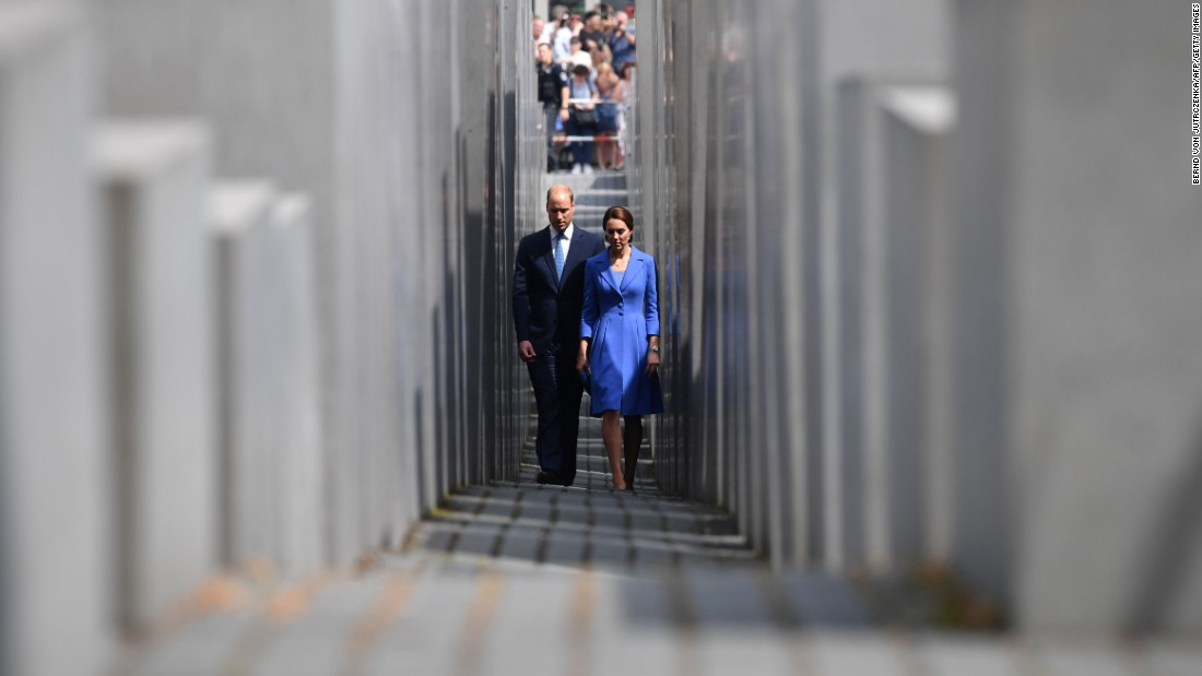 William and Kate visit the Holocaust Memorial on July 19, in Berlin.