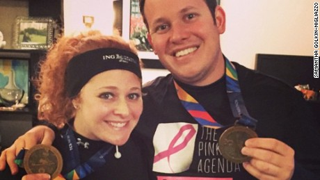 Samantha Golkin-Nigliazzo and her husband David Nigliazzo after running the New York City marathon in November 2014. They ran to raise money for breast cancer research via the nonprofit The Pink Agenda.