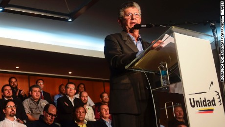 Opposition deputy Henry Ramos Allup delivers a speech during the presentation of the Mesa de la Unidad Democrática (MUD)'s government guidelines in case the opposition comes into power, in Caracas, on July 19, 2017. / AFP PHOTO / RONALDO SCHEMIDT        (Photo credit should read RONALDO SCHEMIDT/AFP/Getty Images)