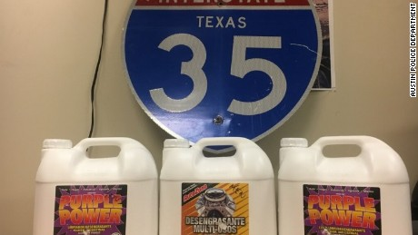 Emma, the Austin Police department's narcotics K-9 led officers to these three large liquid degreaser jugs hidden inside a 2013 Dodge Avenger, which contained the stash of liquid crystal meth, with an estimated street value of $2 million.