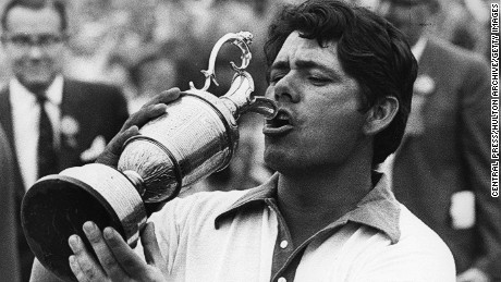 US golfer Lee Trevino raises the cup to his lips after winning the 100th Open Championship at Royal Birkdale.    (Photo by Central Press/Getty Images)