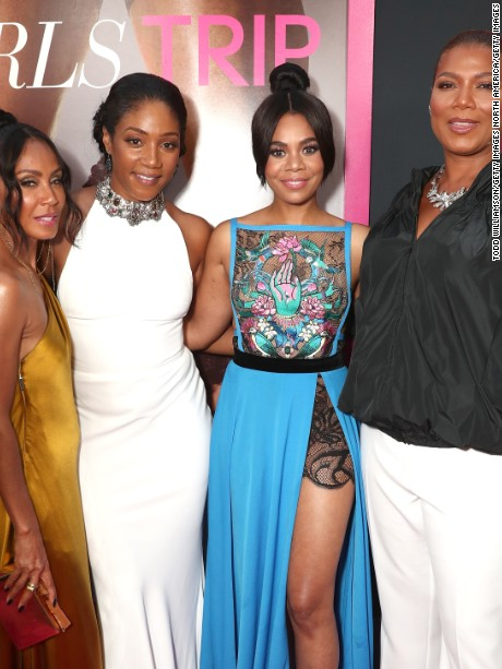 "LOS ANGELES, CA - JULY 13:  Jada Pinkett Smith, Tiffany Haddish, Regina Hall and Queen Latifah attend the Premiere Of Universal Pictures' ""Girls Trip"" at Regal LA Live Stadium 14 on July 13, 2017 in Los Angeles, California.  (Photo by Todd Williamson/Getty Images)"