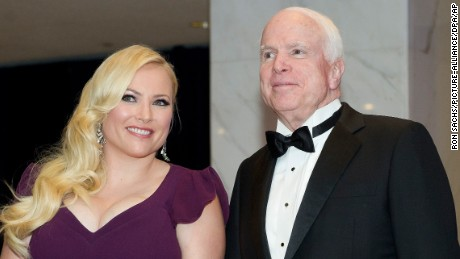 United States Senator John McCain (Republican of Arizona), right, and Meghan McCain, left,  arrive for the 2014 White House Correspondents Association Annual Dinner at the Washington Hilton Hotel in Washington, D.C.