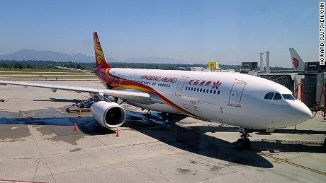 A Hong Kong Airlines plane at YVR Vancouver International Airport.