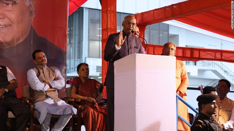 Ram Nath Kovind delivers a speech in presence of Gujarat Bhartiya Janta Party (BJP) members in Gandhinagar, on July 15, 2017.