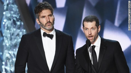 Writer/producers David Benioff (L) and D.B. Weiss onstage during the 68th Annual Primetime Emmy Awards on September 18, 2016.