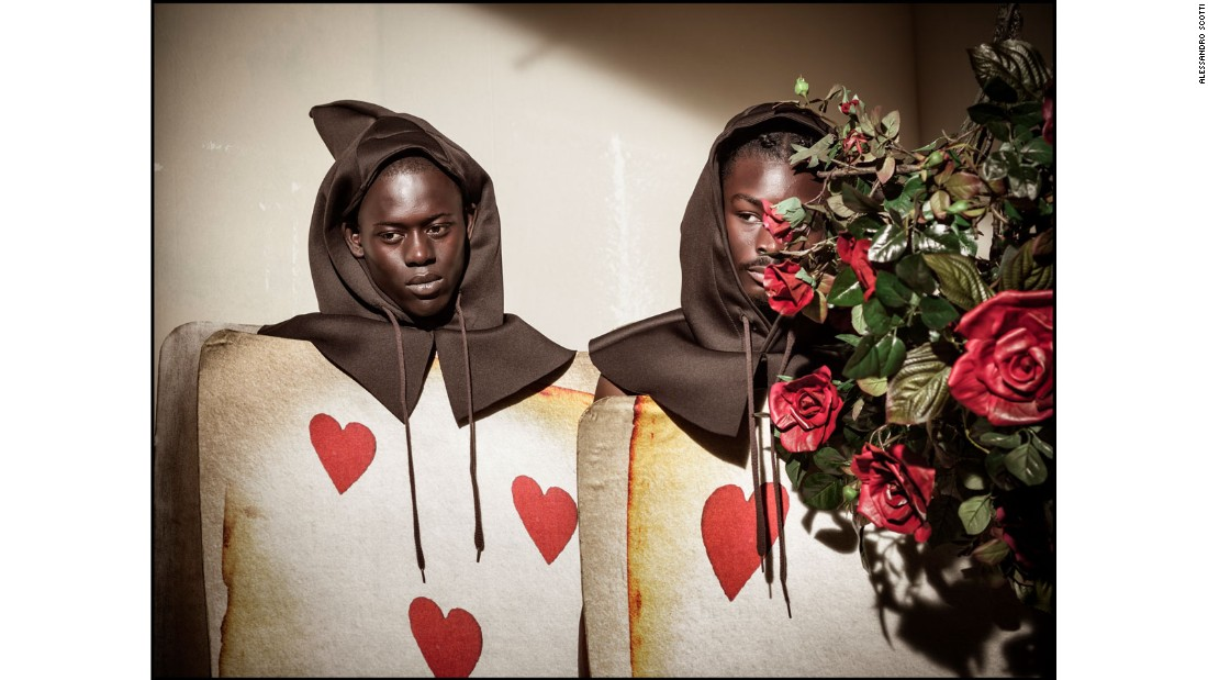 Models Alpha Dia and King Owusu as Hearts Playing Cards Gardners.
