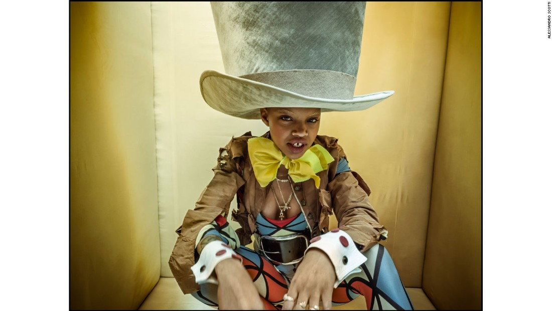 Photographer Tim Walker has brought together an all-black cast for the 2018 Pirelli calendar. Model Slick Woods poses as the Mad Hatter.