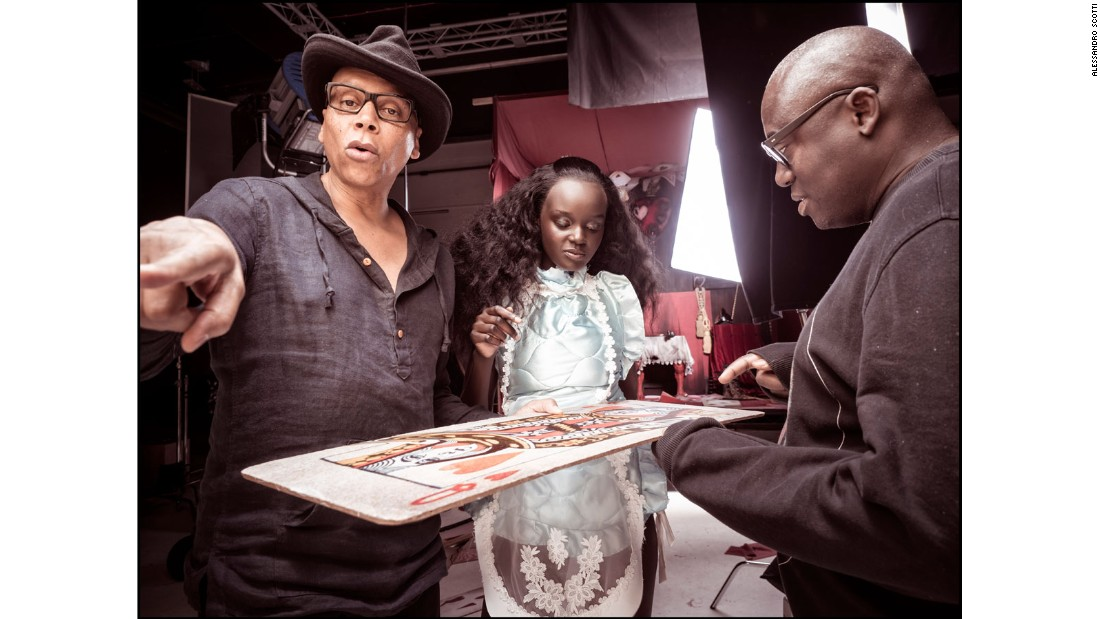 RuPaul, Edward Enninful and Duckie Thot behind the scenes.