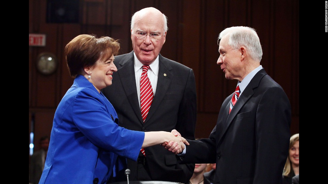 Obama Supreme Court nominee Elena Kagan greets Sessions in 2010 while Senate Judiciary Committee Chairman Sen. Patrick Leahy, D-Vermont, looks on. Sessions voted against Kagan's nomination.