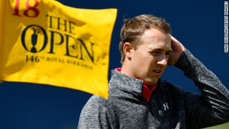 SOUTHPORT, ENGLAND - JULY 20:  Jordan Spieth of the United States on the 18th hole during the first round of the 146th Open Championship at Royal Birkdale on July 20, 2017 in Southport, England.  (Photo by Dan Mullan/Getty Images)