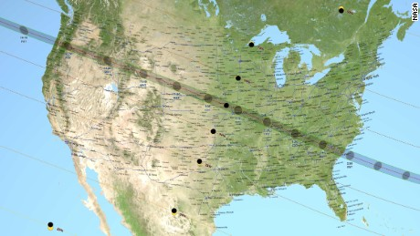 "NASA Map showing the path of the ""Great American Eclipse."""