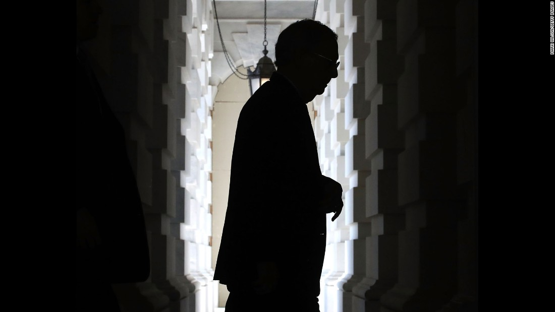 "Senate Majority Leader Mitch McConnell arrives at the Capitol on Tuesday, July 18. Efforts to repeal and replace the Affordable Care Act -- otherwise known as Obamacare -- were met with <a href=""http://www.cnn.com/2017/07/18/politics/mcconell-repreal-and-replace-obamacare-not-successful/index.html"" target=""_blank"">another setback</a> Tuesday after three Republican senators said they would oppose a procedural vote to advance McConnell's plan to roll back significant parts of Obamacare without a replacement plan in place."