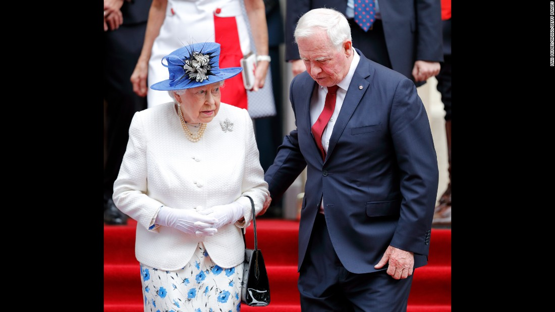 "Governor General of Canada David Johnston touches Britain's Queen Elizabeth II's elbow as she departs Canada House in London on Wednesday, July 19. This raised  eyebrows, because touching the monarch is a <a href=""http://www.cnn.com/2017/07/20/europe/queen-elizabeth-canada-governor-general/index.html"" target=""_blank"">breach of royal protocol</a>. ""I'm certainly conscious of the protocol,"" Johnston told CNN partner <a href=""http://www.cbc.ca/news/world/governor-general-touches-queen-1.4211922"" target=""_blank"">CBC News</a> after the visit to celebrate the 150th anniversary of Canadian Confederation. ""I was just anxious to be sure there was no stumbling on the steps."""