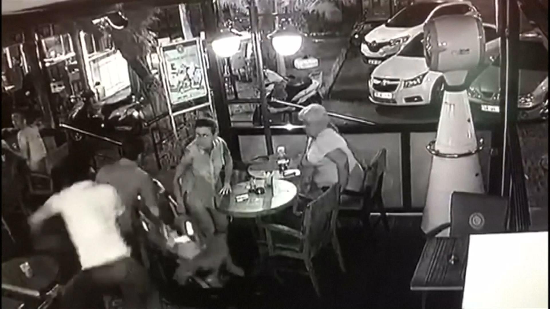 cctv in café shows moment earthquake hit - cnn video