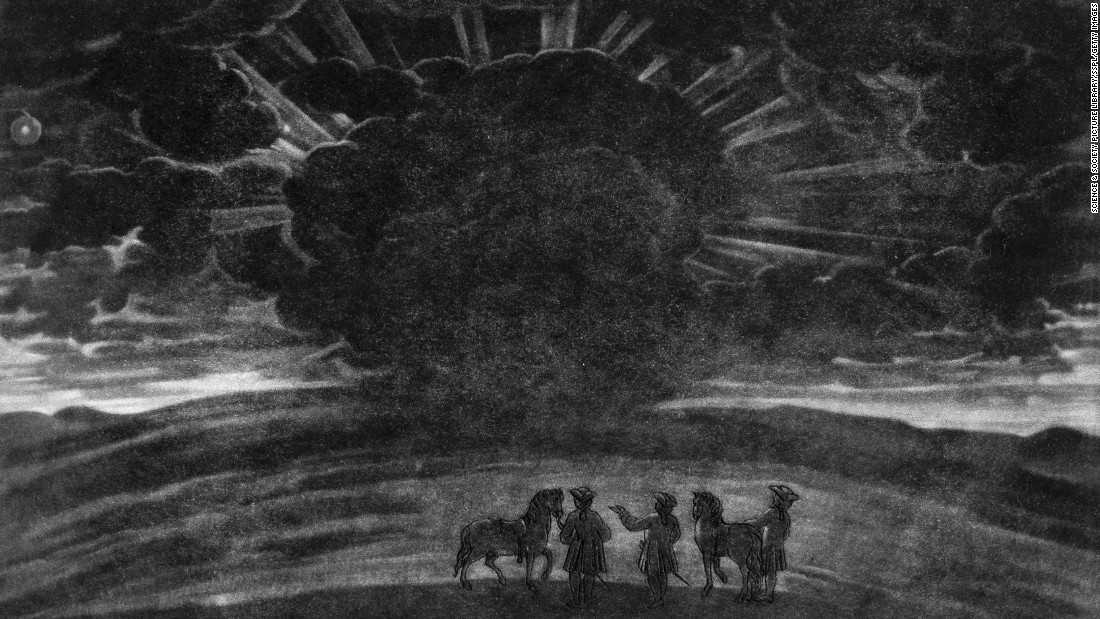 In 1724, a group of riders dismount to observe a total solar eclipse on Haradon Hill near Salisbury, England. Notice the cloudy and threatening sky.