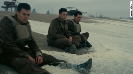 "Harry Styles (left) in a scene from ""Dunkirk."""