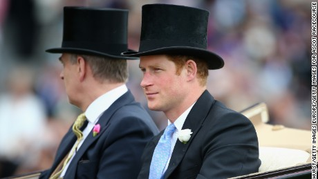ASCOT, ENGLAND - JUNE 16: Prince Harry (R) and Prince Andrew, Duke of York ride on the royal procession during the royal procession on day 1 of  Royal Ascot 2015 at Ascot racecourse on June 16, 2015 in Ascot, England.  (Photo by Charlie Crowhurst/Getty Images for Ascot Racecourse)