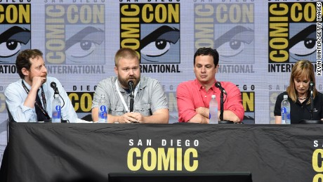 "Producers Scott M. Gimple, Robert Kirkman, David Alpert, and Gale Anne Hurd speak onstage speaks onstage at the ""The Walking Dead"" panel during Comic-Con International 2017 at San Diego Convention Center on July 21, 2017 in San Diego, California."