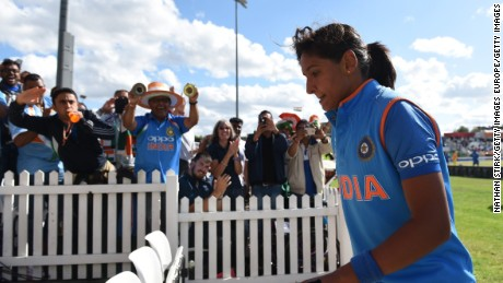 DERBY, ENGLAND - JULY 20: Harmanpreet Kaur of India walks to the changing rooms after scoring 171 during the Semi-Final ICC Women's World Cup 2017 match between Australia and India at The 3aaa County Ground on July 20, 2017 in Derby, England. (Photo by Nathan Stirk/Getty Images)