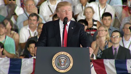 President Donald Trump delivers a speech the commissioning ceremony of the USS Gerald R. Ford Naval ship in Norfolk, Virginia on July 22.