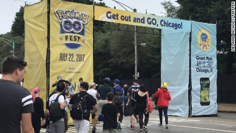 Players enter Pokemon Go Fest in Chicago.