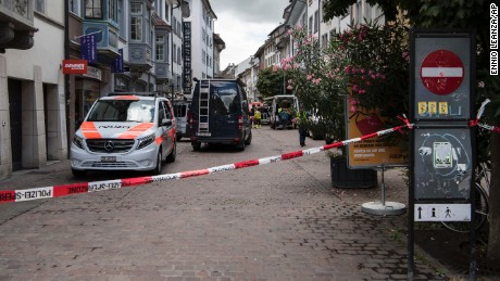 The police shut down the old town of Schaffhausen in Switzerland, while they search for an unknown man who attacked people, on Monday, July 24, 2017. Swiss police say five people have been hospitalized, two of them with serious injuries, following the apparent attack in the northern city of Schaffhausen.
