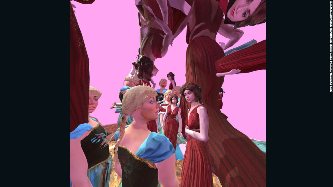 Khora Contemporary produced this virtual reality work by Paul McCarthy. The characters in the work circle the luridly coloured room, taunting each other and the viewer.