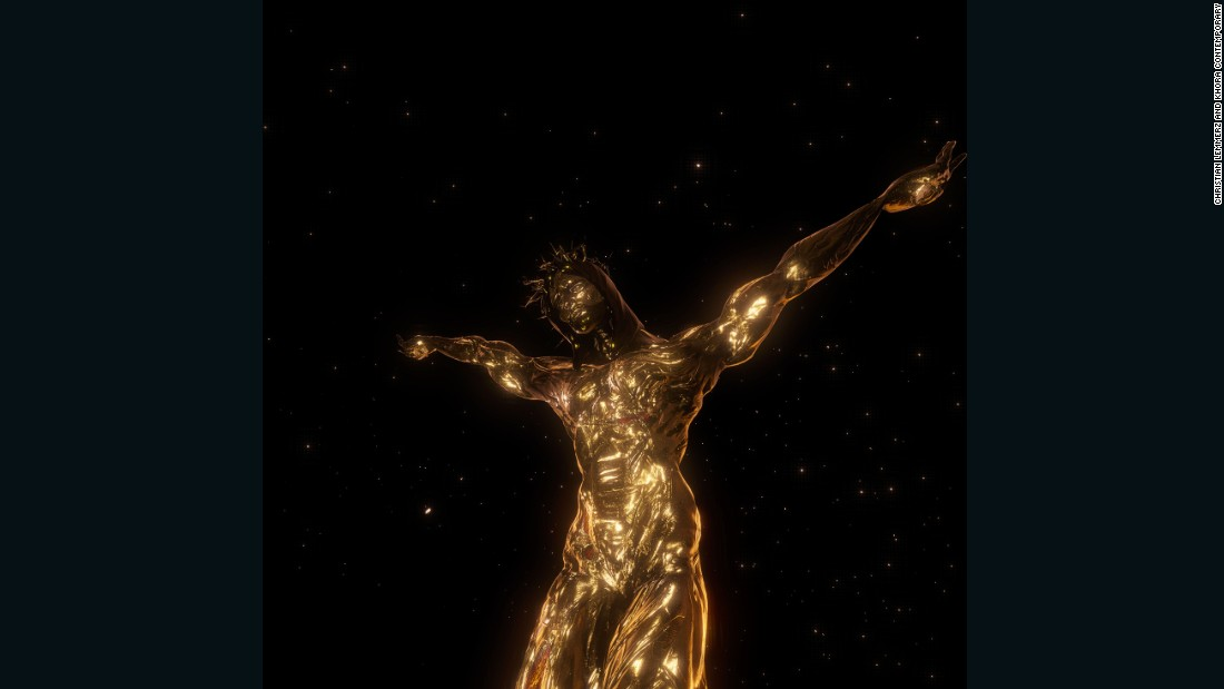 "Christian Lemmerz's virtual reality work ""La Apparizione"" features a glowing Jesus levitating in space. It comes in an edition of five, each priced around $100,000."