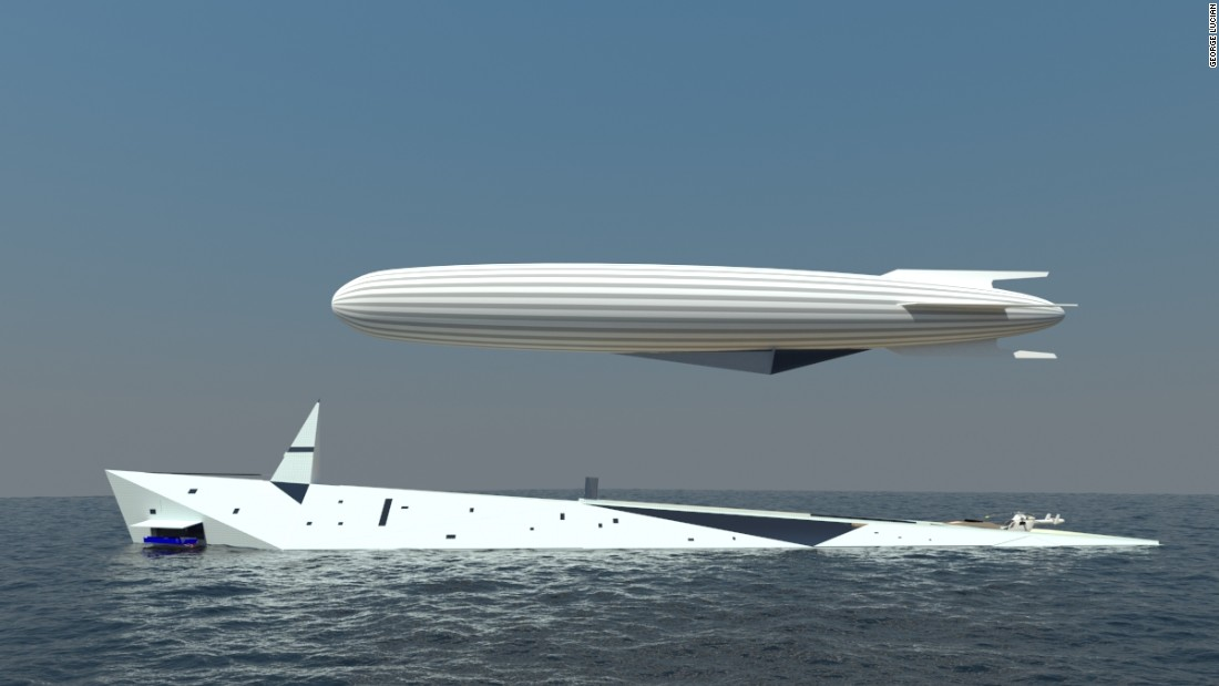 The airship is 100m in length and would offer the yacht's owner the chance to gain a different perspective while sailing the Mediterranean, for example.