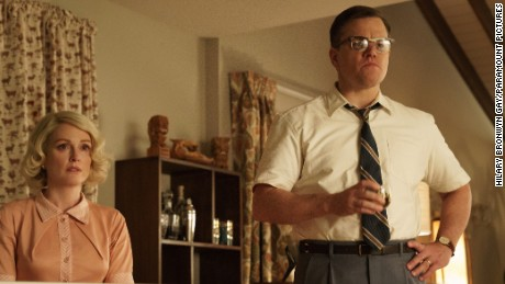 "Julianne Moore as Margaret and Matt Damon as Gardner in ""Suburbicon."""