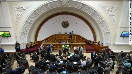 View of the Venezuelan National Assembly during a session in Caracas on December 14, 2016 to discuss the renewal of the National Electoral Council (CNE) authorities, among other issues. / AFP / FEDERICO PARRA        (Photo credit should read FEDERICO PARRA/AFP/Getty Images)