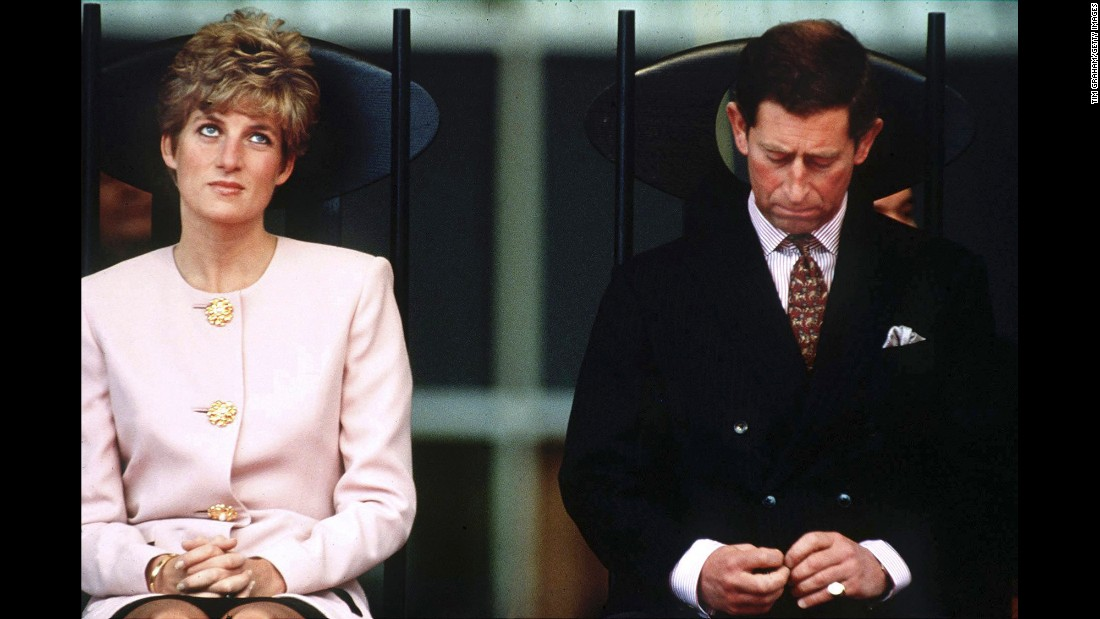 Diana and Charles sit together during a royal tour of Toronto in October 1991.