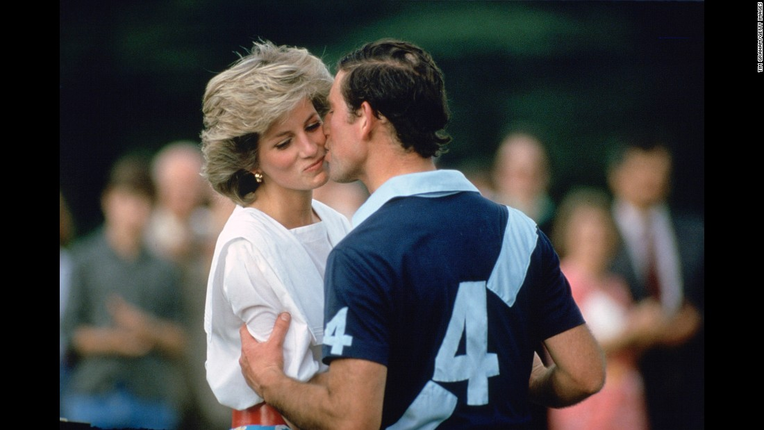 Charles kisses his wife after a polo match in Cirencester, England, in June 1985.