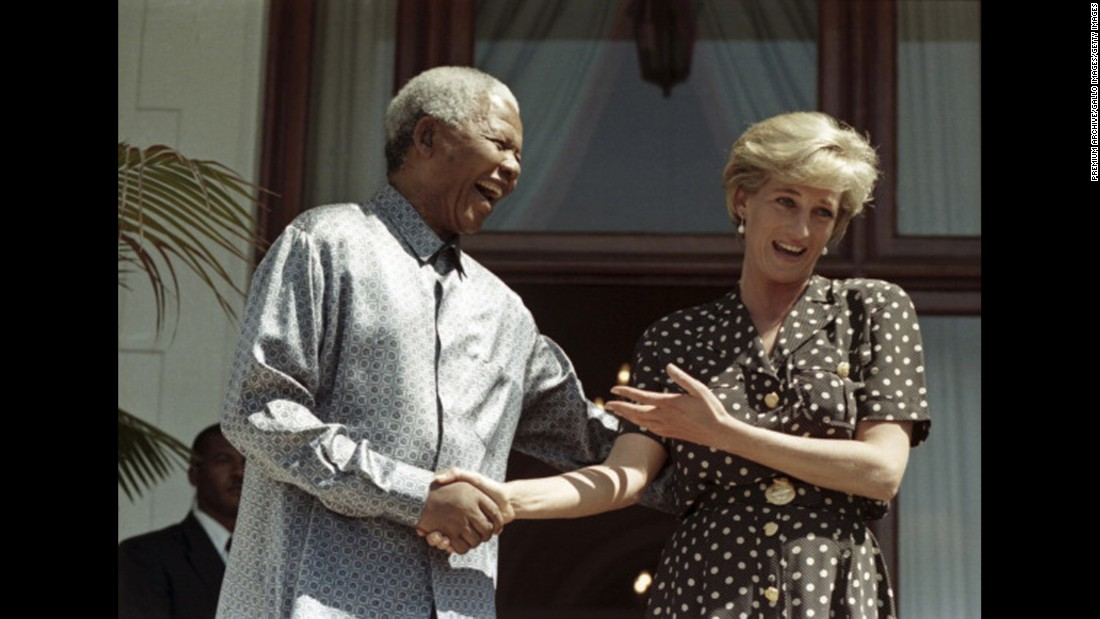 Diana visits Cape Town, South Africa, and meets with South African President Nelson Mandela in March 1997.
