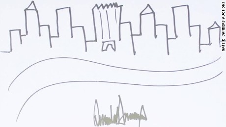 President Trump's drawing of the New York City skyline. Courtesy of Nate D. Sanders Auctions.