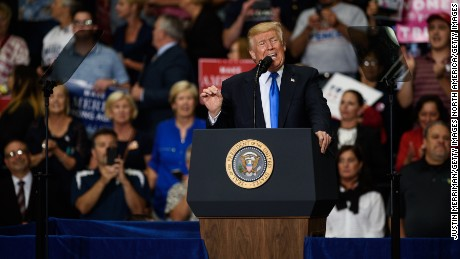 YOUNGSTOWN, OH - JULY 25: U.S. President Donald Trump addresses a rally at the Covelli Centre on July 25, 2017 in Youngstown, Ohio. The rally coincides with the Senates vote on GOP legislation to repeal and replace the Affordable Care Act.  (Photo by Justin Merriman/Getty Images)