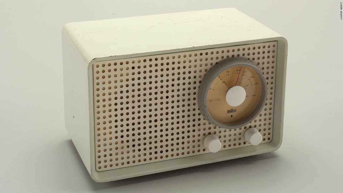This radio from esteemed manufacturers Braun was designed to be more functional, taking inspiration from military hardware and Pop Art.
