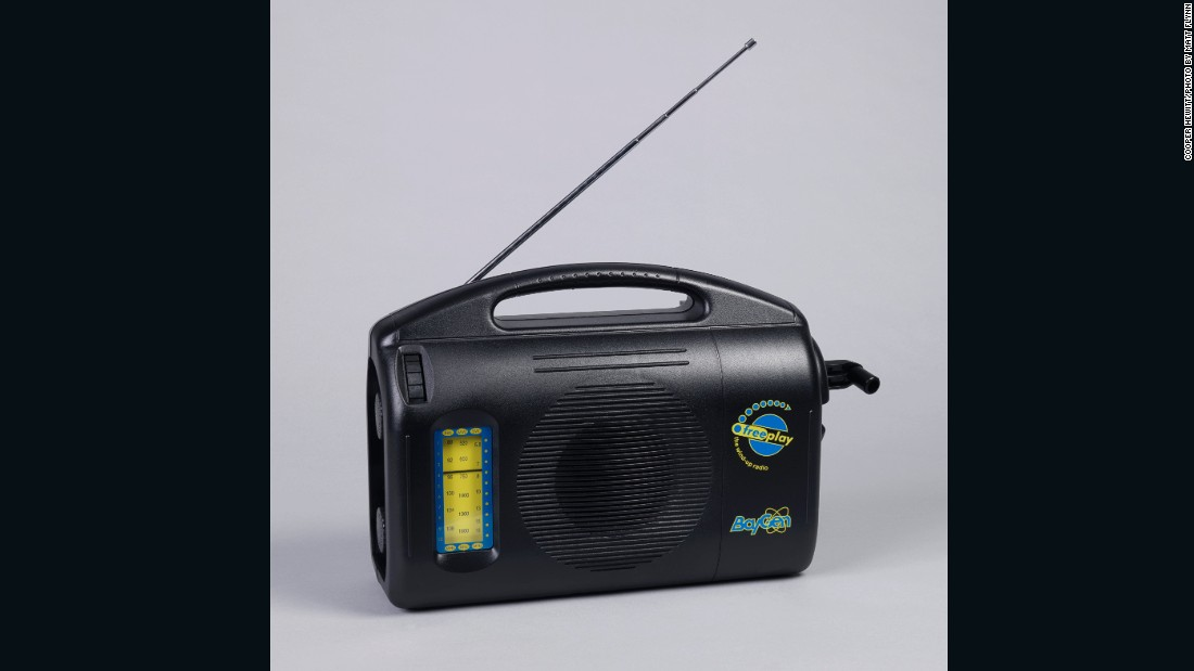 In 1991, eccentric British inventor Trevor Baylis realized the need for radio in remote African communities without electricity -- his response was this, the first wind-up radio, a landmark moment in radio history, still used today.