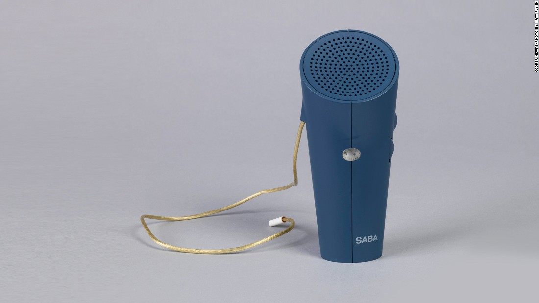 By the 1990s a radio had to be discreet and portable to compete in the post-Walkman market, as this conical, Philippe Starck-overseen device from 1994 shows.