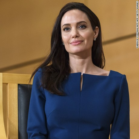 Angelina Jolie attends the annual lecture of the Sergio Vieira de Mello Foundation at the United Nations (UN) office in Geneva on March 15, 2017.