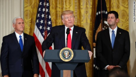 President Donald Trump, accompanied by Vice President Mike Pence, and House Speaker Paul Ryan of Wis., speaks in the East Room of the White House, Wednesday, July 26, 2017, in Washington. Trump is announcing the first U.S. assembly plant for electronics giant Foxconn in a project that's expected to result in billions of dollars in investment in the state and create thousands of jobs.