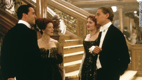 "Billy Zane, Frances Fisher, Kate Winslet and Leonardo DiCaprio in ""Titanic."""