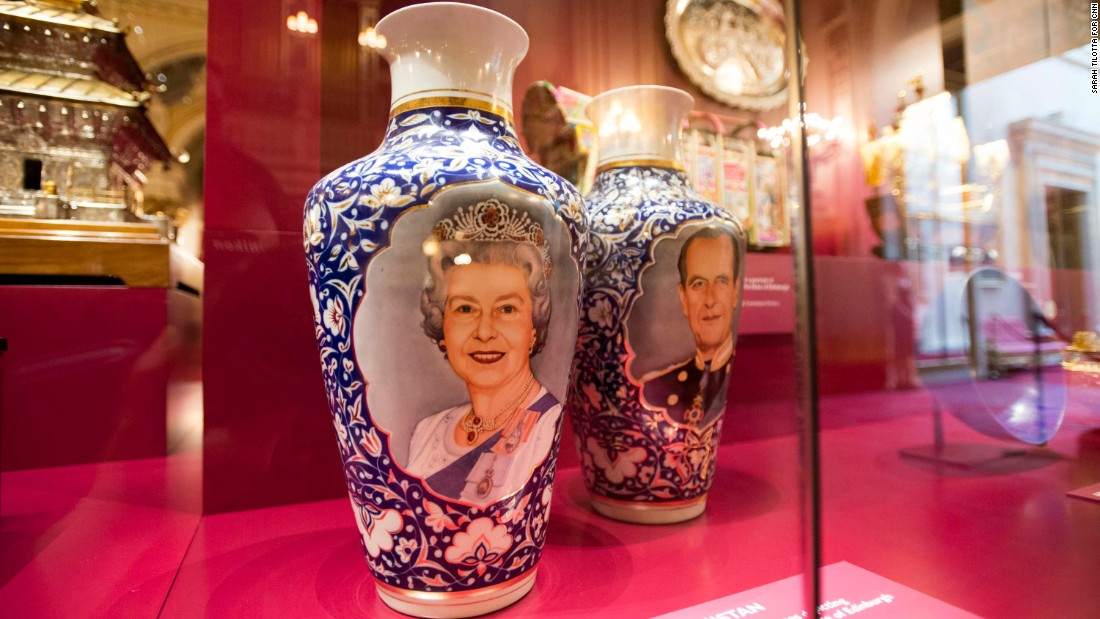 Many of the gifts the Queen has been given over the years honor her personally, such as these vases from Islam Karimov, the former president of Uzbekistan. One vase has a portrait of the Queen painted on it, while the other shows her husband, Prince Philip.